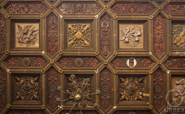wooden decorations on ceiling