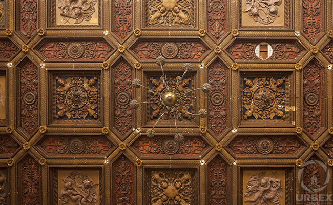 wooden ceiling in an abandoned palace in Pilica