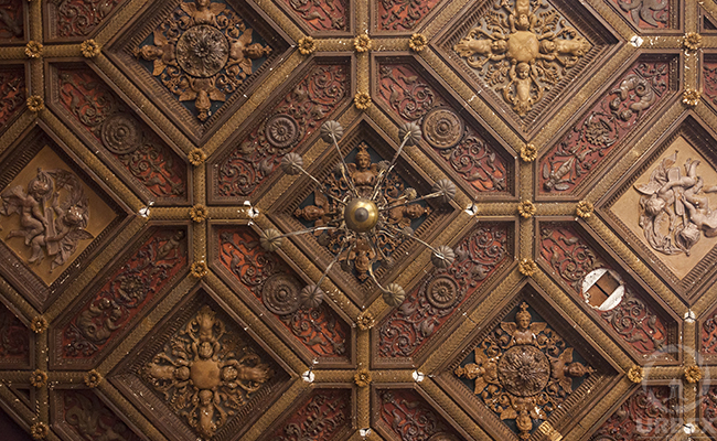 ceiling decoration in an abandoned chateau