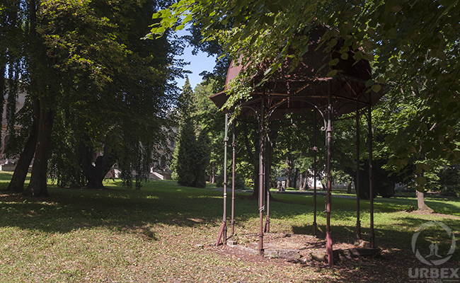 a gazebo in an abandoned haunted palace in Pilica