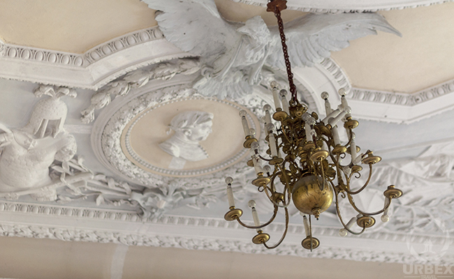 chandelier in an abandoned palace in Poland