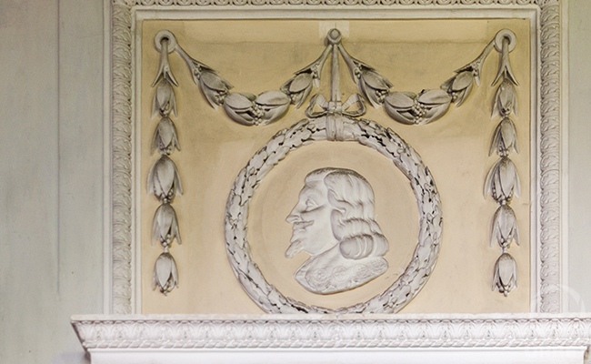 bas-relief in an abandoned haunted palace in Pilica
