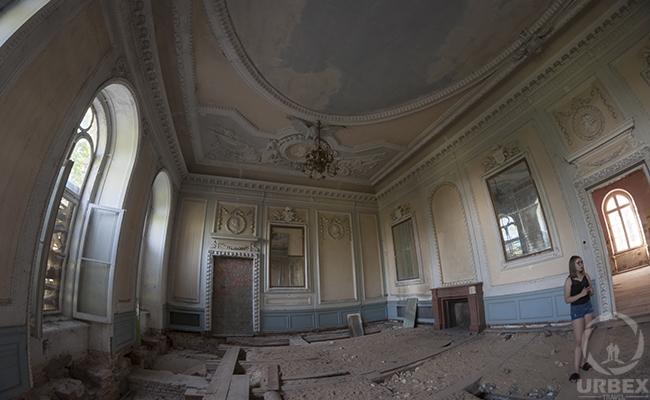 blue ballroom in abandoned palace