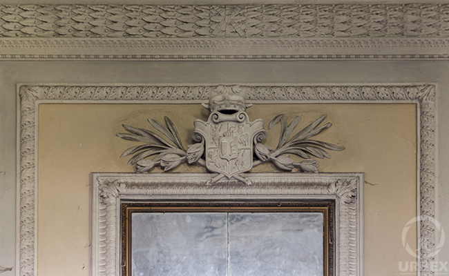 stucco in an abandoned palace in Poland