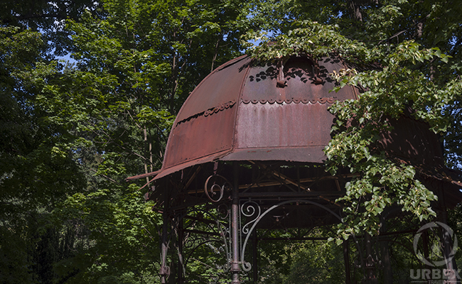metal gazebo in an abandoned palace in Poland