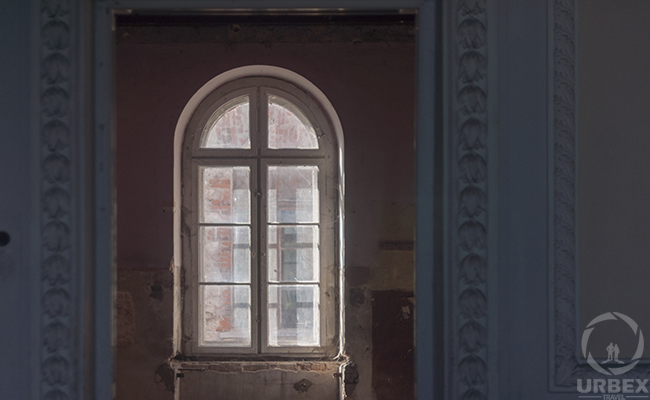 gothic window in an abandoned palace
