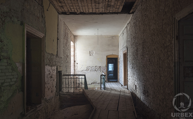 a room in an abandoned palace