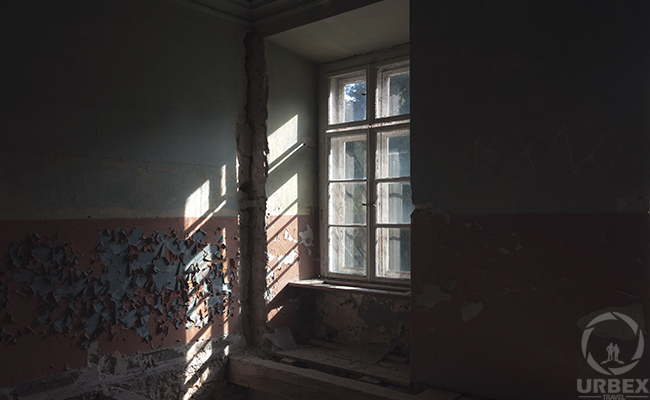 windows in an abandoned haunted palace in poland