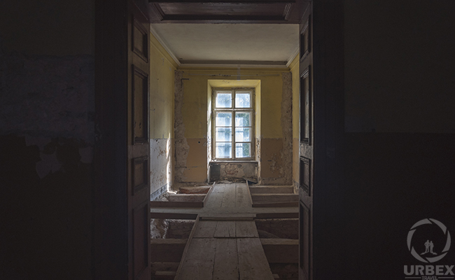 window in an abandoned chateau
