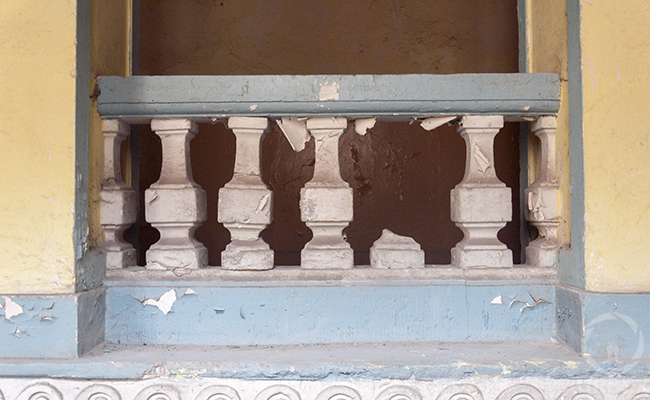 stone balustrade in an abandoned chateau