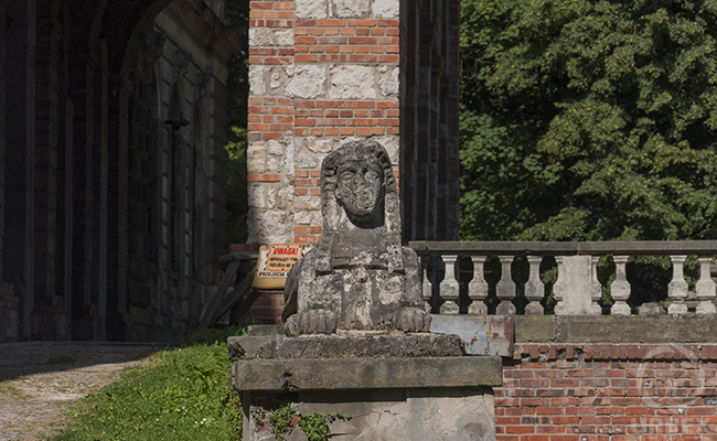 sphinx in an abandoned haunted palace in Pilica