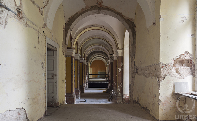 corridor in an abandoned palace in Pilica