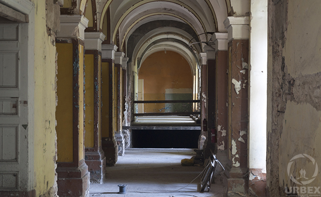 hall in an abandoned haunted palace in Pilica