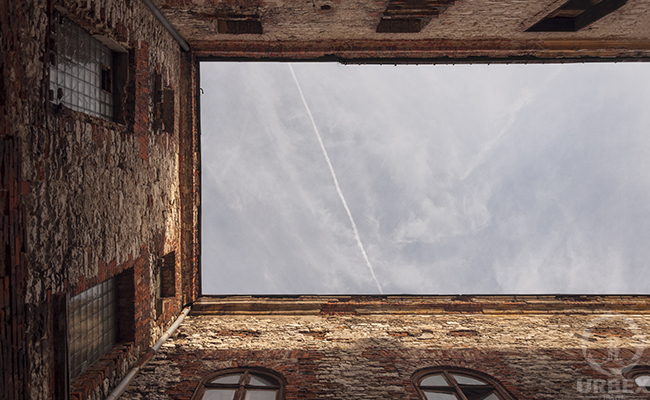 sky well in an abandoned chateau