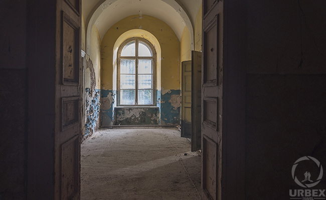 perspective in abandoned palace in Pilica Poland