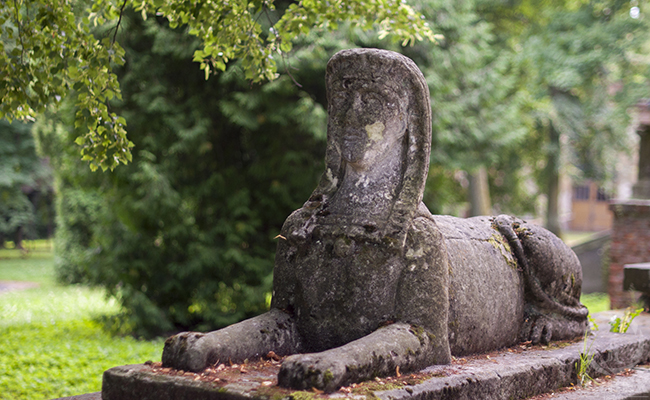 sphinx in an abandoned palace in Pilica