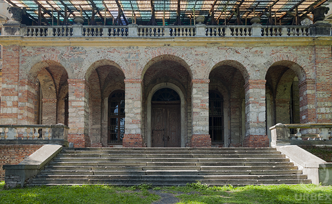 entrance to an abandoned palace in Poland