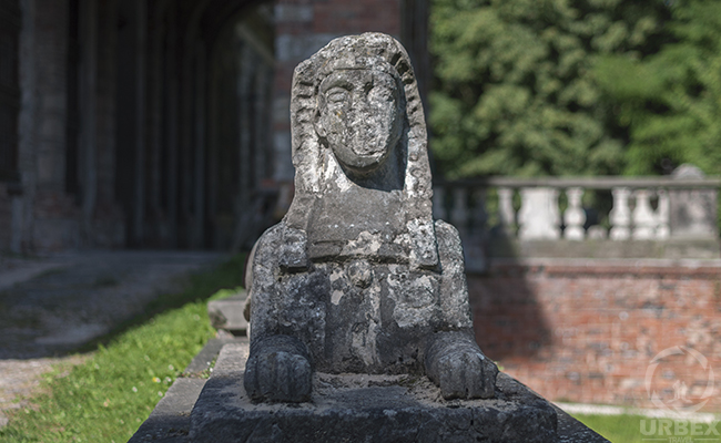 sphinx in an abandoned haunted palace in poland