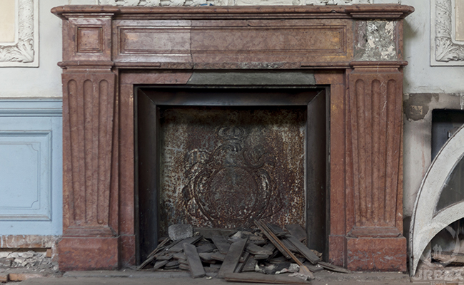 an old fireplace