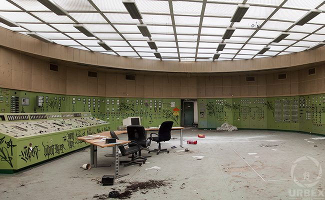 a control room in an abandoned power plant
