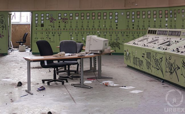 an abandoned control room like chernobyl