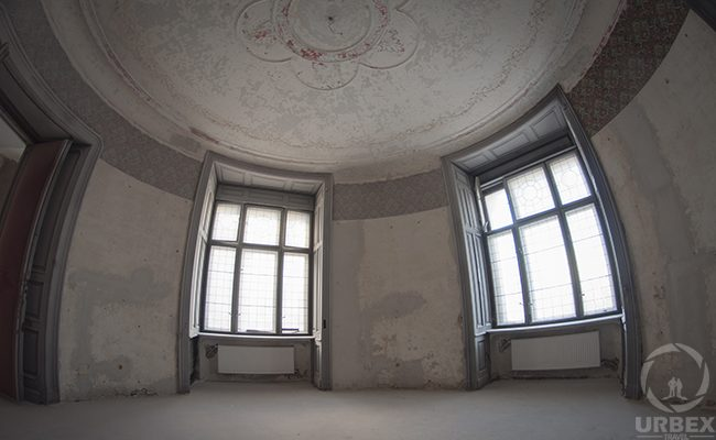 a ceiling with a mold in an abandoned chateau