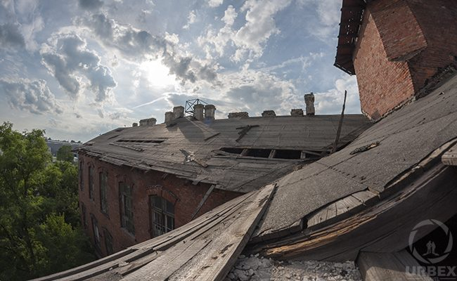 The roof of an abandoned hospital