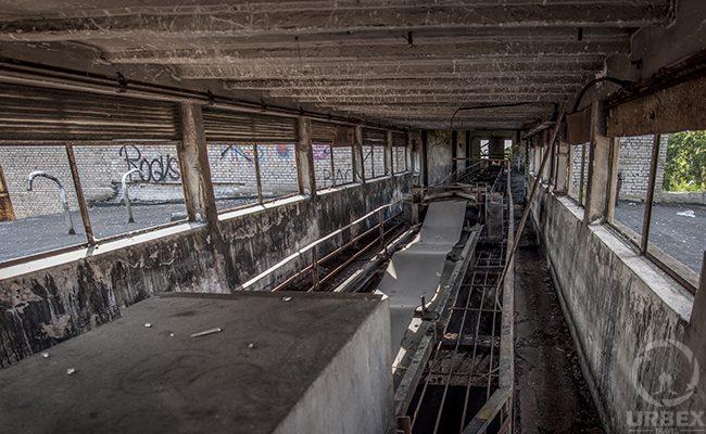 conveyor belt in an abandoned building