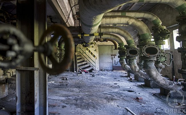 pipes in an abandoned building