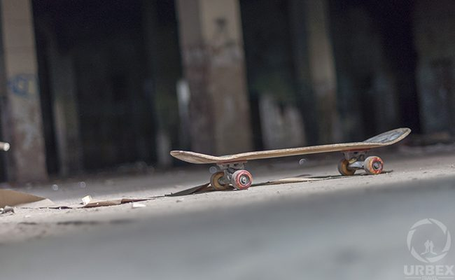 Skateboard in abandoned building