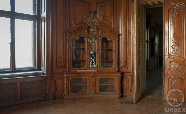 an old cupboard in an abandoned palace in Budapest