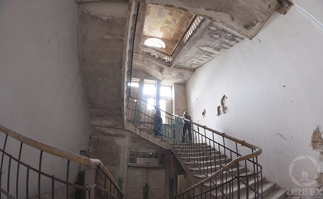 Staircase in an abandoned hospital