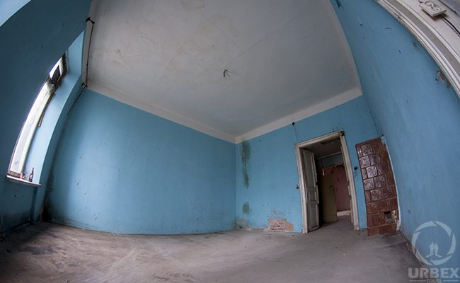 blue room in an abandoned building