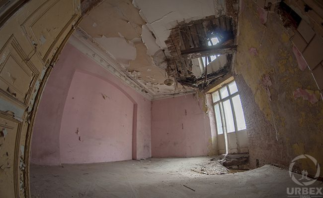 pink room in an abandoned tenement house