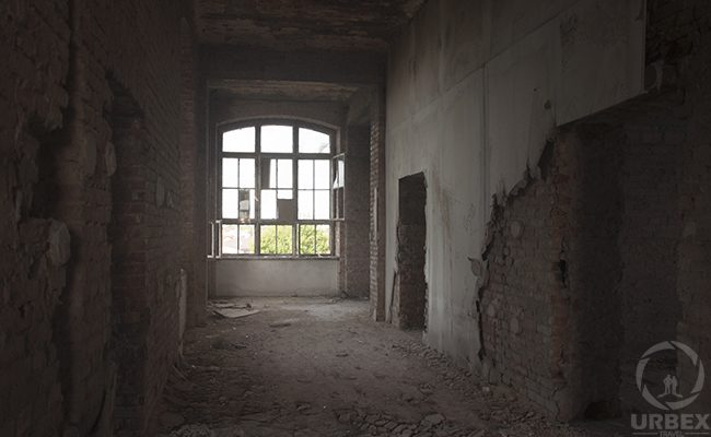 a window in an abandoned brick building