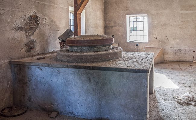 Quern and Flour In An Abandoned Mill